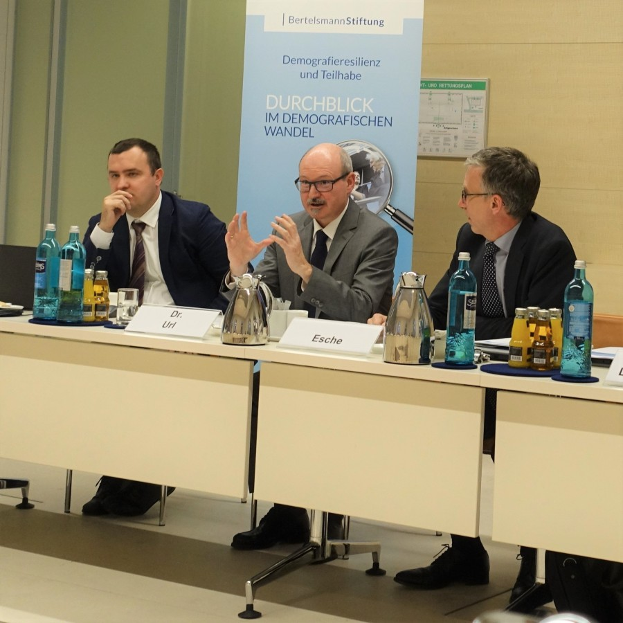 The two WIFO economists Serguei Kaniovski and Thomas Url presented the study in Berlin to representatives of ministries, parliament and embassies. © Bertelsmann Stiftung